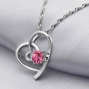 Jewelry - Faceted Pink Crystal Silver Open Heart Necklace
